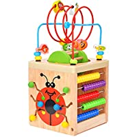 BATTOP Wooden Cube Activity Center 6-in-1 Multifunction Bead Maze Learning Cube Toys for Kids Toddlers Gifts