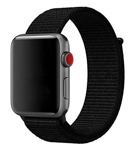 Naomo Apple Watch Armband 42mm,Gewobenes Nylon Sport Schlaufe Handgelenk Uhrband Ersatz Armreif Uhrenarmband für iWatch Apple Watch Series 3,Series 2,Series 1 (42mm, Neu Dunkles Schwarz)