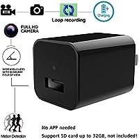 Mini Cargador de cámara espía oculto - Bysameyee 1080P Cargador de pared USB Cámara de adaptador de CA con grabación de video de detección de movimiento para vigilancia de seguridad