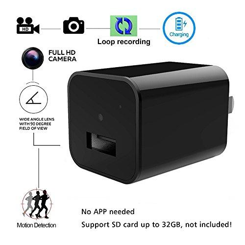 Ac-adapter Versteckte Kamera (Aufladeeinheits-Kamera - Bysameyee USB-Wand-Verdeck versteckte Kamera mit Bewegungs-Entdeckungs-Schleifen-Videoaufzeichnung, 1080P verdeckte DVR Recorder-Kindermädchen-Nocken-Wechselstrom-Adapter für)