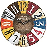 Sehaz Artworks Antiques UV Round Wood Wall Clock (30.48 Cm X 30.48 Cm X 2 Cm)