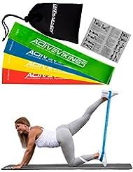 Fitnessbänder Set 4-Stärken by ActiveVikings - Ideal für Muskelaufbau Physiotherapie Pilates Yoga Gymnastik und Crossfit - Fitnessband Gymnastikband