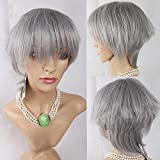 Haned Short Gray For Women Pixie Cut Wig Synthetic Natural Hair Applies: Stylish Girl Of Silk Material: High Temperature Wire Wig Liu Category: Oblique Liu Wig Hairstyle: Short Straight Hair Style: Sweet Cute Effectiveness: Ornaments Cosmetics Features: Stylish Personality ,Silver A040 171 Grayperformance Fashion, Natural Lifelike, Hairdressing, Hairdressing And Hairdressing Party, Cosply