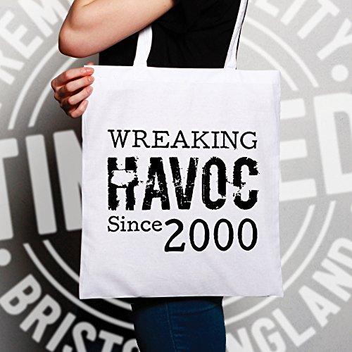 18 ° Compleanno Sacchetto Di Tote Devastando Dal 2000 novità Deterioramento, Design, White