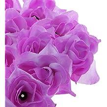 50x Cabezas de Flores de Rosa A Granel Artificial Seda Triángulo Decoración Boda