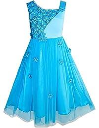Sunny Fashion Vestido para niña Flor Dimensional Flor Boda Fiesta Pageant 5-14 años