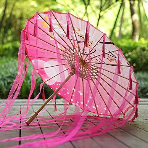 Einfach Kostüm Weiblichen - Regenschirme Brautaccessoires Handgemachte Öl Papier Regenschirm Alten Wind Quaste Regenschirm Hanfu weiblichen Kostüm COS Foto Fotografie Requisiten Streamer Tanz Regenschirm