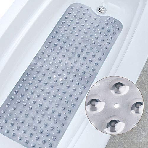 Ksnrang Badewanneneinlage für die Badewanne, maschinenwaschbar, antibakteriell, latexfrei Antirutsch extra lang Badewannenmatten mit Abflusslöchern, Rutschfeste Duschmatte(grau, 40 x 100 cm)
