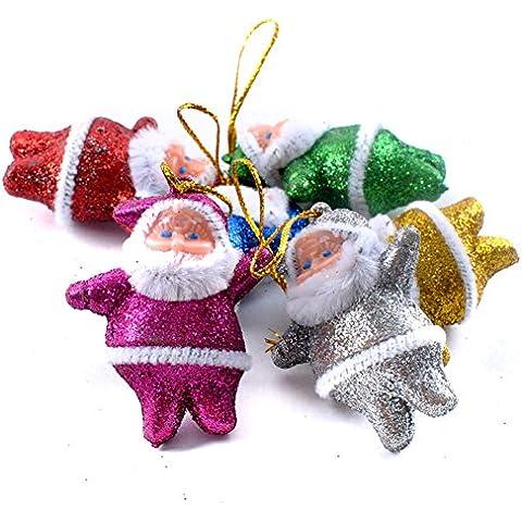 Awhao 6pcs hermosa de Santa Claus colgantes del arbol de navidad Chucherias decoracion Adornos