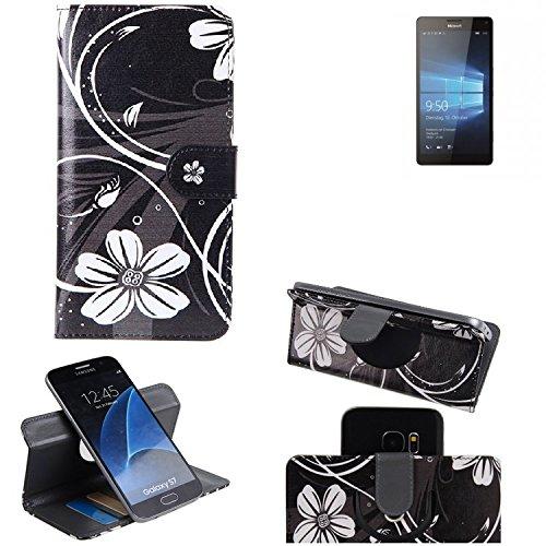 K-S-Trade® Schutzhülle Für Microsoft Lumia 950 XL Dual SIM Hülle 360° Wallet Case Schutz Hülle ''Flowers'' Smartphone Flip Cover Flipstyle Tasche Handyhülle Schwarz-weiß 1x