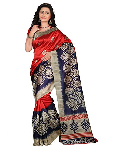 Sarees for women party wear Designer Today best offers buy online in Low Price Sale Red & Dark Blue Color Mysore Silk Fabric Free Size Ladies Sari