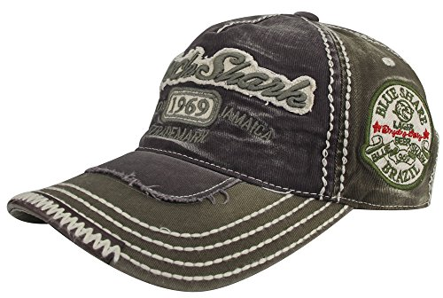 MINAKOLIFE Herren RockShark Kingston 1969 Jamaika Distressed Vintage trucker- Baseball Kappe Hut (schwarz) (Baseball Jamaika)