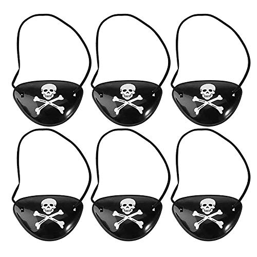 Eizur Piraten Augenklappen für Halloween Party Accessoires Karneval Fasching Piratenkostüm Kindergeburtstag Schwarz, 6 Stücke (Mit Bart Halloween-kostüm Kreative)
