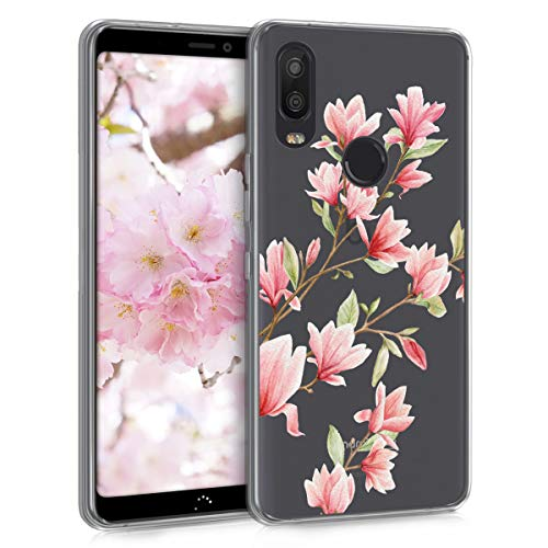 kwmobile bq Aquaris X2 / X2 Pro Hülle - Handyhülle für bq Aquaris X2 / X2 Pro - Handy Case in Rosa Weiß Transparent