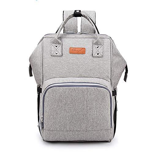 Wirezoll Wickeltasche Multifunktionale Baby Wickelrucksack mit Großem Volumen für Unterwegs inkl. USB-Ladeanschluss/Tragbarer Flaschen-Tasche/Wickelunterlage/Aufhänge-Riemen (Grau)