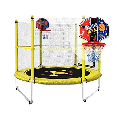 Unbekannt Erwachsene Kinder-Trampolin Mit Sicherheitsnetz Und Basketballkorb, 150 cm Übung Fitness-Sprungbett, Tragfähigkeit 150 Kg