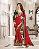 Super Hot Red chilli color saree in patli work and Green color blouse with work so you can enjoy this saree in every functio or also in casual were th