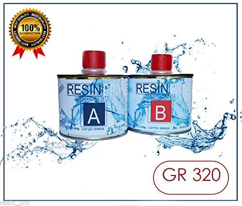RESINA EPOSSIDICA LIQUIDISSIMA SUPER TRASPARENTE GR 320 BICOMPONENTE A+B - EFFETTO ACQUA per creazioni trasparente - RESINA per gioielli - resina per creazioni stampi - BESTSELLER da RESIN PRO