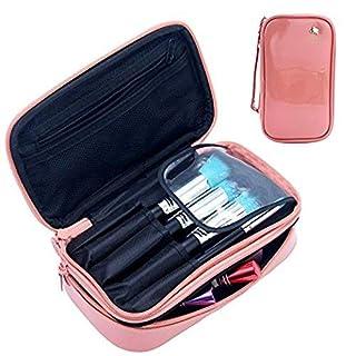 MLMSY Make-up-Tasche Kleine Kosmetiktasche für Frauen Make-up Pinsel Organizer Wasserdicht Portable 2 Layer Make-up Tasche Holder Professionelle PU-Leder Tasche mit Tragegriff für Reise (pink)