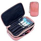 MLMSY MLMSY Make-up-Tasche Kleine Kosmetiktasche für Frauen Make-up Pinsel Organizer Wasserdicht Portable 2 Layer Make-up Tasche Holder Professionelle PU-Leder Tasche mit Tragegriff für Reise (pink)