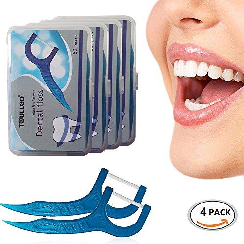 Preisvergleich Produktbild Zahnseide,Dental Floss, 200 Stück Weiß Zahnpflege, Zahn Draht, Zahnpflege Interdental Flossers, Disposable Fresh Zahnseide Floss, Zahnseidensticks, Pro-Expert Premium Zahn Draht 4er Pack