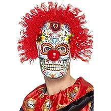 SmiffyS 48132 Máscara De Payaso Del Día De Muertos, Multicolor