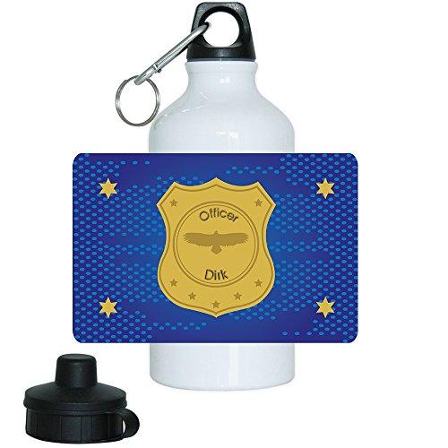 Trinkflasche mit Namen Dirk und schönem Officer-Motiv mit Marke und Sternen für Jungs