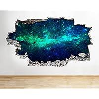 B010 Nebula Star Gazing Space Planets Moon Earth Wall Decal Poster 3D Art Sticke Kids Bedroom Baby Nursery Cool Livingroom Hall Boys Girls (Large (90x52cm))