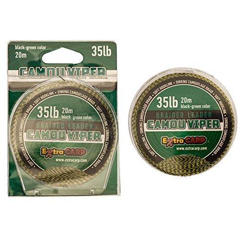 Karpfenvorfach sinkend 20 m 35 lb Vorfachschnur Karpfen Vorfach Schnur Karpfenschnur Carp Leader (schwarz-grün)