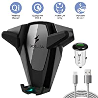 BOSLISA Wireless Car Charger, X-MAN Wireless Charger Car Mount, Air Vent Phone Holder, QC3.0 10W Fast Charging Samsung Galaxy S9/8/7/Note 8, 7.5W iPhoneX/8/8 Plus More Qi Phones - Black