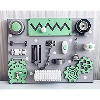 Busykids-6 Handmade Wooden Busy board, Clever Puzzles, Locks and Latches Activity Board (Green)
