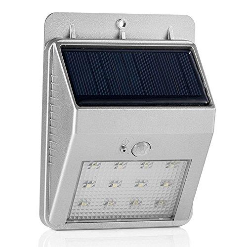 [Neueste Version] GRDE® Solar 12 LED Wand Lampen Außen Leuchten für Garten, Terrasse, Fahrtweg, Höfe, Traufen, mit Bewegungsmelder Bewegungssensor, Kabellos Wetterfest Wasserdicht, Dim / Hell Modi (1, Silver)