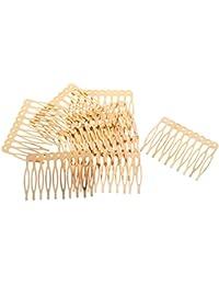 FITYLE 10 Unids Plata Antigua Tono De Bronce Dorado Metálico Lado del Pelo del Metal Clips Pines 2.7/5.6 Cm para DIY Joyería Encontrar Artesanía - Oro, 5.6cm