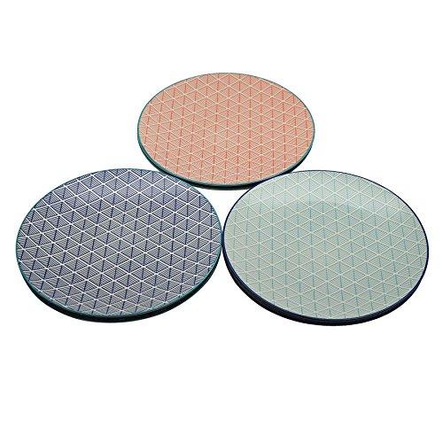 Grandes assiettes - motif géométrique - 265 mm - 3 modèles - lot de 6