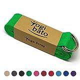 Yogibato - Yoga-Gurt - 100% Baumwolle - 240cm mit stabilen Metallringen zur flexiblen Größenverstellung - in verschieden Farben - Yoga-Band - jetzt bestellen (Grün)