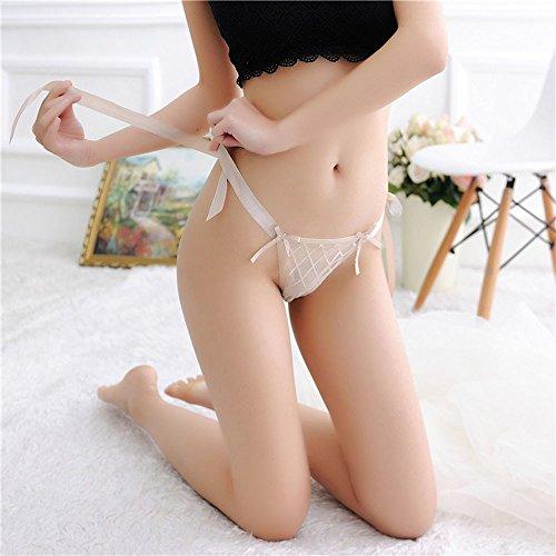 Damen Tanga-Shorts Micromesh-Spitze Rüschen Spitze Schleife Durchsichtiges Netzgewebe Strappy Verstellbarer Schultergurt Damen Tanga Sexy Unterwäsche Illumination Bikini-Slip Weich Stretch T-Rücken - 3