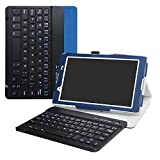 LiuShan Lenovo Tab4 8 Bluetooth Keyboard hülle, Abnehmbare Bluetooth Tastatur (QWERTY, englisches layout) hülle mit Ständer für Lenovo Tab 4 8 Android Tablet,Blau
