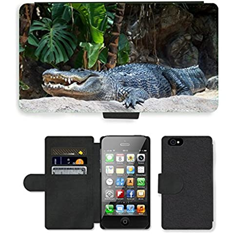 PU Flip Carcasa Funda de Cuero Piel Cubre Case // M00111365 Dente coccodrillo Rettile Animale // Apple iPhone 4 4S 4G - Coccodrillo Dente