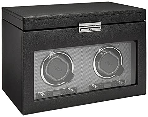 Wolf Designs 456202 Module 2.7 Double Watch Winder with Cover, Storage and Travel Case