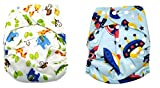 #10: Baby Bucket All-In-One Bottom-bumpers Cloth Diaper set of 2 (Blue Space & Animal)