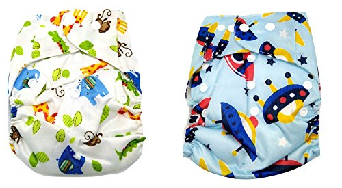 Baby Bucket All-In-One Bottom-bumpers Cloth Diaper set of 2 (Blue Space & Animal)