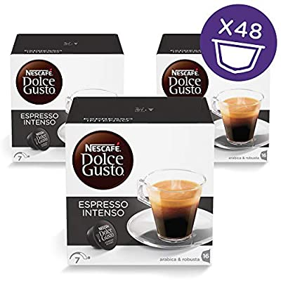 NESCAFÉ Dolce Gusto Espresso Intenso Coffee Pods, 16 capsules (Pack of 3 - Total 48 Capsules, 48 Servings) from Nestle