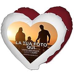 Idea Regalo - Cuscino Cuore Personalizzato con foto Idea regalo Amore - Rosso, 40x40 cm - Con Imbottitura