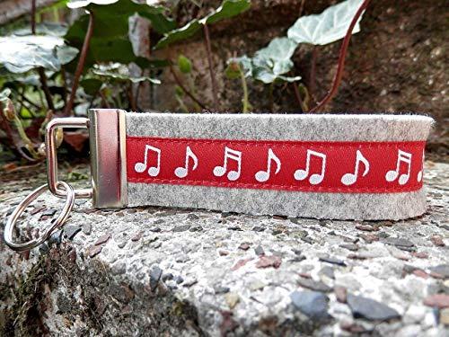 Schlüsselanhänger Schlüsselband Wollfilz hellgrau Webband Noten Musik rot weiß Geschenk