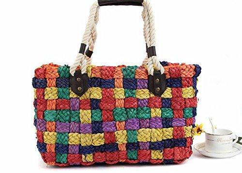 Reißverschluss Stroh (Stroh Regenbogen Handtaschen Tote Gewebte Farbe Frauen Stricken Freizeit Reise Sommer Strandtasche Mixed)