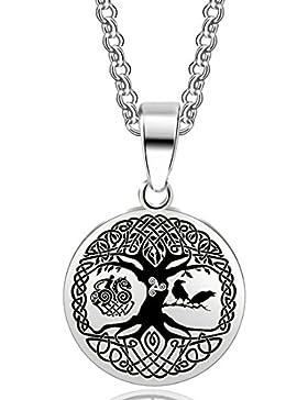 Lebensbaum Anhänger mit Kette in Silber   Edelstahl   Weltenesche, Yggdrasil, Irminsul, Kette