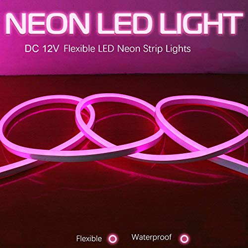 Luz LED neón cuerda, 10M, rosa Luz tira flexible LED, DC 12V SMD 2835 Tubo flexible LED neón, 120led IP65, Lámpara de cuerda impermeable, Decoración de festivales de bricolaje