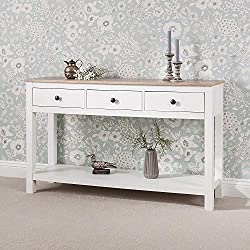 Laura James White Console Table   3 Drawers   with shelf