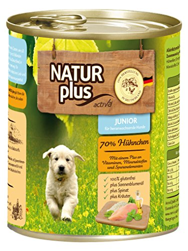 NATUR plus Hundefutter JUNIOR mit 70% Huhn - glutenfrei (6 x 800 - Natur Plus Hundefutter