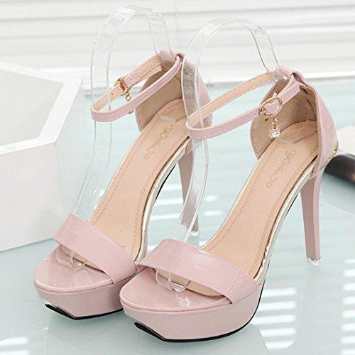 Mulheres Altos Cinta Dedo Fino Elegantes Aberto Kaiki Saltos Calcanhar De Sapatos Verão Sandálias Rosa Tornozelo De rrq8ag